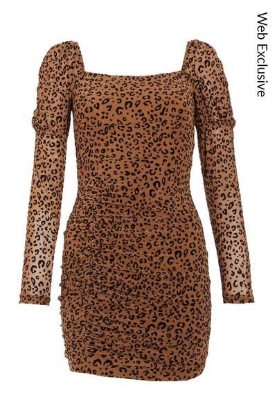 Stone Leopard Print Mesh Bodycon Dress